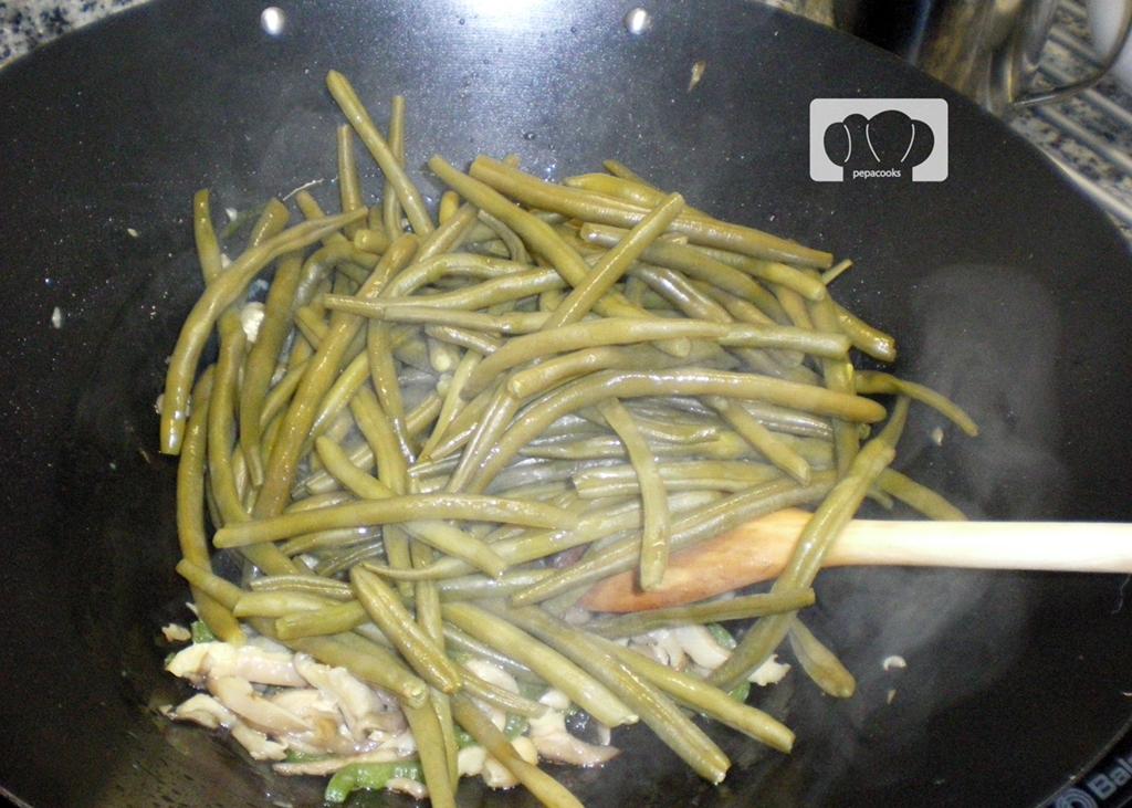 Judias verdes salteadas a la pimienta