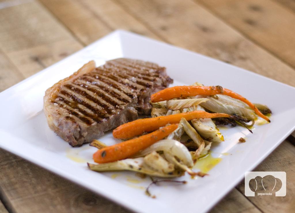 hinojo y zanahorias asados