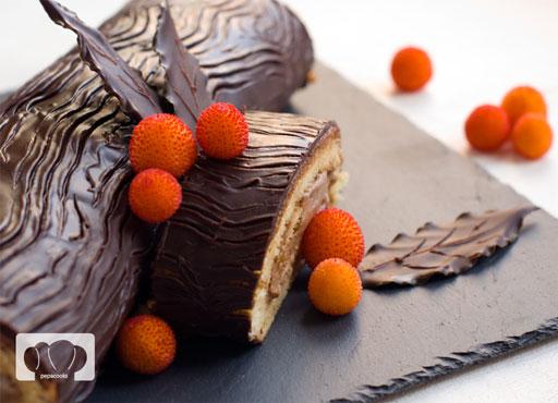 tronco de navidad de chocolate