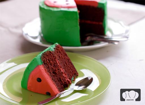tarta sandía de chocolate