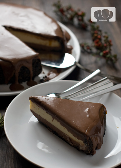 receta de  tarta de queso con chocolate y caramelo