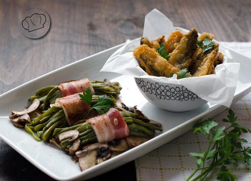 Ensalada de judias verdes con champiñones y sardinas rebozadas