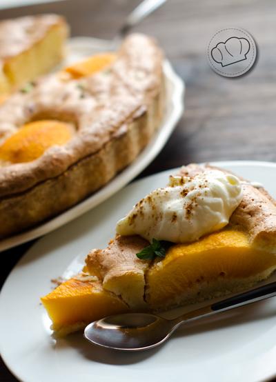 receta de tarta de melocotones y almendra