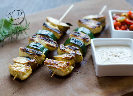 receta de Pinchos de pollo al curry y yogur