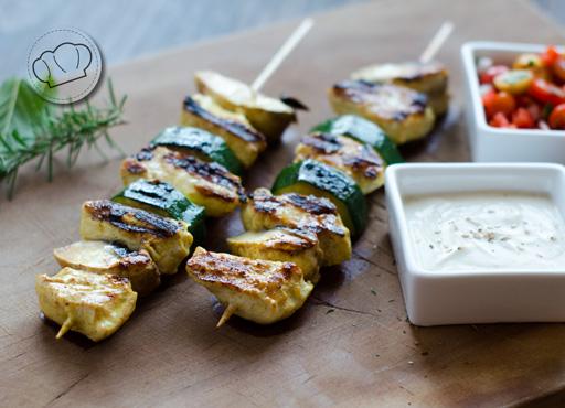 receta de Pinchos de pollo al curry y yogur