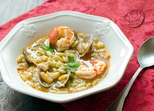 receta de Alubias verdinas con langostinos y almejas