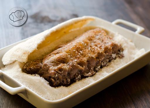 receta de Costillas asadas al horno a la sal con especias barbacoa