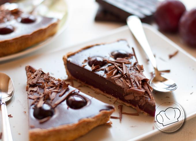 receta de tarta de cerezas y chocolate