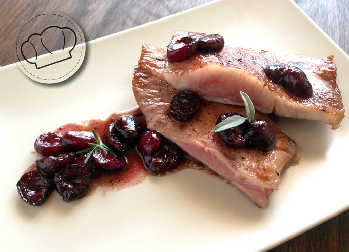 receta de Secreto Iberico con salsa de vino y cerezas