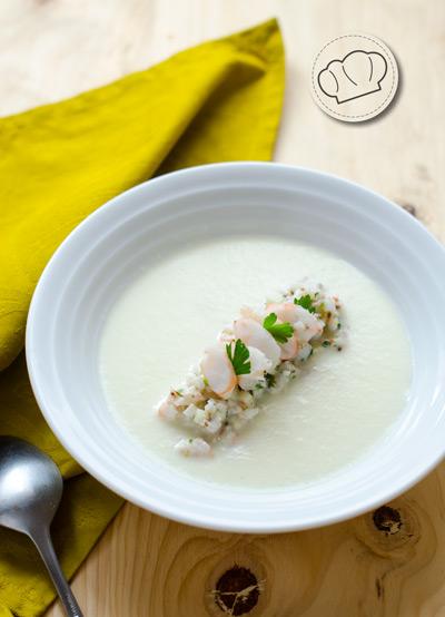 receta de Sopa fría de melón con langostinos