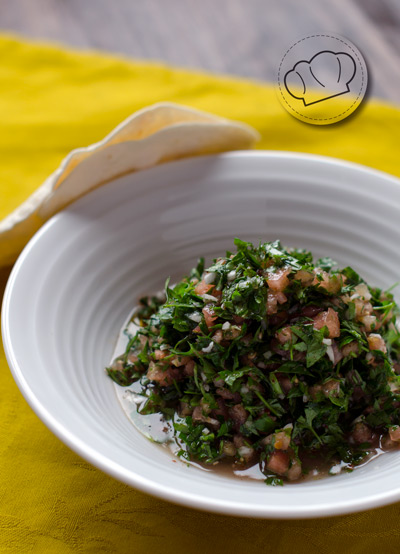 receta de Tabule. Ensalada libanesa de perejil