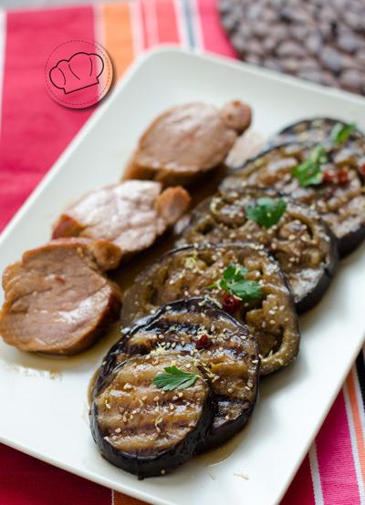 receta de berenjenas chinas con solomillo glaseado