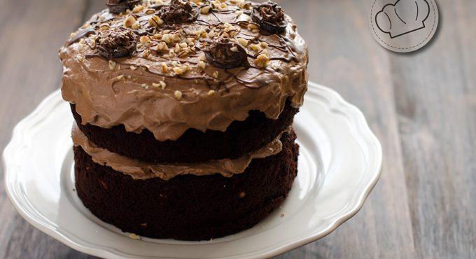 Tarta Brownie con Nocilla y avellanas